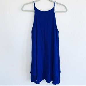Lulus Blue High Neck Backless Ruffle Layer Dress